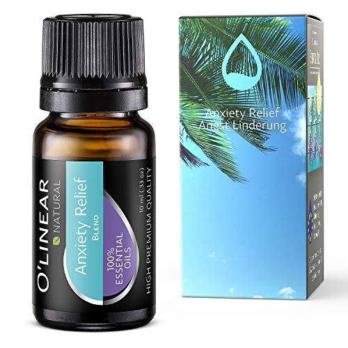 Anxiety Relief Essential Oil Blend - 100% Pure Therapeutic Grade Stress Relief Blend Oil - 10ml - Perfect for Aromatherapy, Relaxation, Taught Thoughts Relief - Made in EU under strict control!