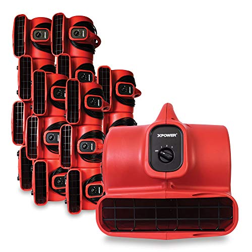 XPOWER P-430 1/3 HP Air Mover, Carpet Dryer, Floor Fan, Utility Blower - Red (18 Fans)