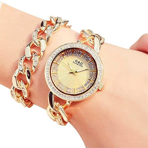 XQKXHZ Relojes de Pulsera Doble de Cuarzo Japonés Analógico para Mujer con Diamantes de Imitación, Cronometraje Preciso, para Festival Reunión Familiar, Gold 1
