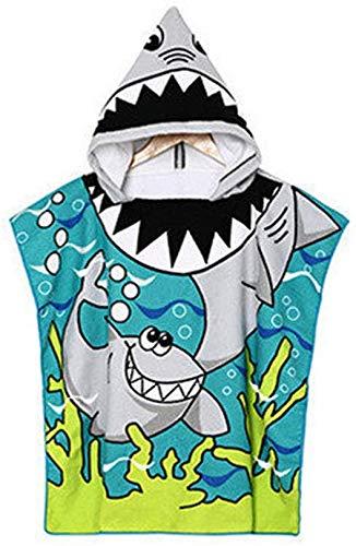 VSTON Poncho de playa tigre, tiburón, toalla de playa para niños, de microfibra, con capucha, de secado rápido, toalla con capucha para niños, color azul