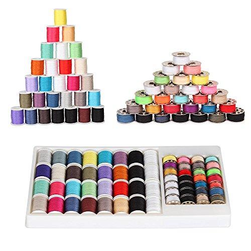 NEX Kit de 60 piezas de hilo de coser Robbins Poliéster multicolor, 32 carretes de hilo y 28 kit de viaje de bobinas de coser