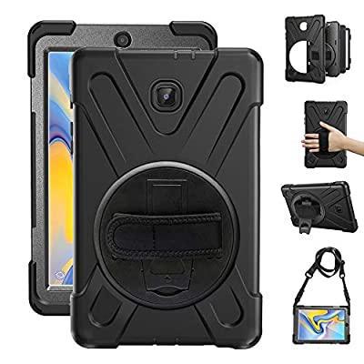 Gzerma Samsung Galaxy Tab A 8.0 Case, Kids Proof with Hand Strap, Kickstand, Screen Protector, 3in1 Heavy Duty Defender Rugged Bumper with Silicone Cover for Samsung T380 8 Inch 2017 Tablet