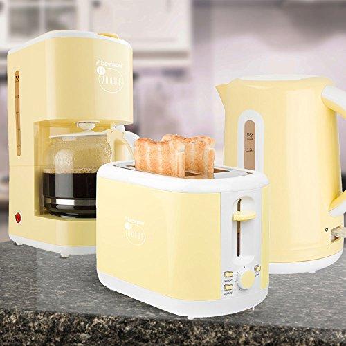 3er Frühstücks Set Filter Kaffee Maschine Automat Wasserkocher kabellos 2-Scheiben Toaster Vanille