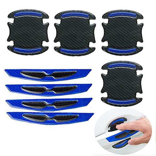 LLJ 8pcs Universal 3D Carbon Fiber Auto Türgriff Lack Kratzschutz Aufkleber Auto Türgriff Kratzschutz Schutz Folie Auto Outdoor Sicherheit Reflektierende Streifen Blau L056