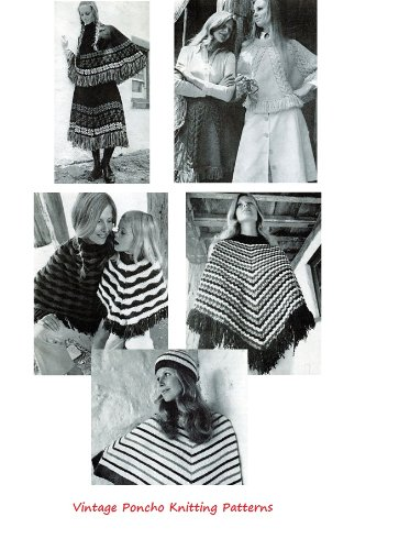 Vintage Knitted Poncho Patterns - Knitting Patterns for Women's Ponchos, Poncho Skirt, Mother and Daughter Poncho and More. (English Edition)