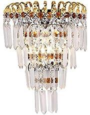HJXDtech Hoge kwaliteit kristal gordijn wandlamp, klassieke wandlamp in gouden afwerking voor de woonkamer aan bed, binnenverlichting decoratie (21x29cm)