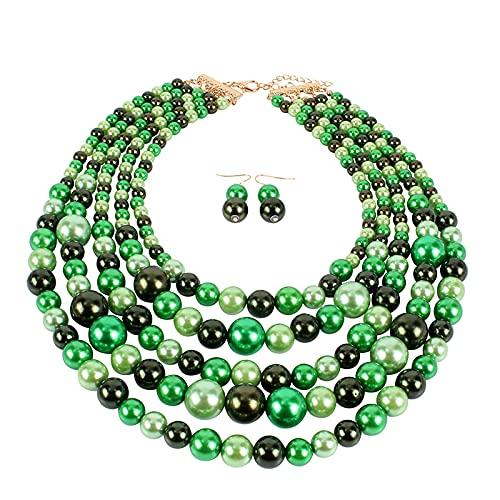 HMANE Cuentas de Babero de Perlas simuladas Collar Africano Boda nigeriana Conjuntos de Joyas Indias Gargantilla Regalo 46 cm