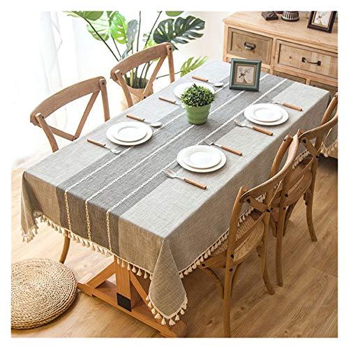 Corredores de mesa Mantel decorativo de tela escocesa con borla impermeable impermeable grueso rectangular rectangular mesa de comedor cubierta mesa de té ( Color : Grey , Specification : 120x160cm )
