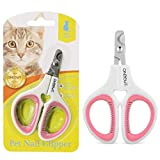 OneCut Pet Nail Clippers, Update Version Cat & Kitten Claw Nail Clippers for Trimming, Professional Pet Nail Clippers Best for a Cat, Puppy,Rabbit, Kitten & Small Dog,Sharp & Safe (Pink)