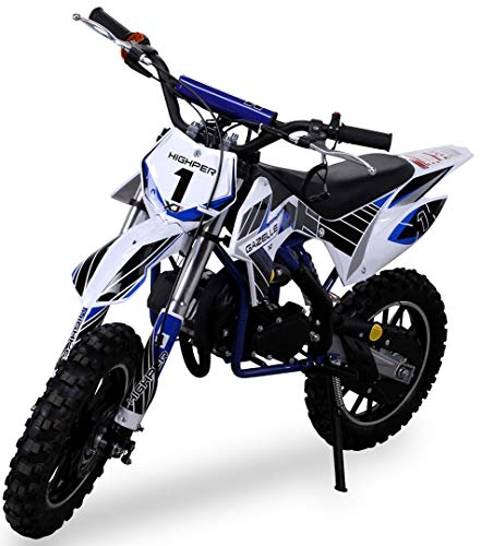 Kinder Mini Crossbike Gazelle 49 cc 2-takt inklusive Tuning Kupplung 15mm Vergaser Easy Pull Start verstärkte Gabel Dirt Bike Dirtbike Pocket Cross (Blau)