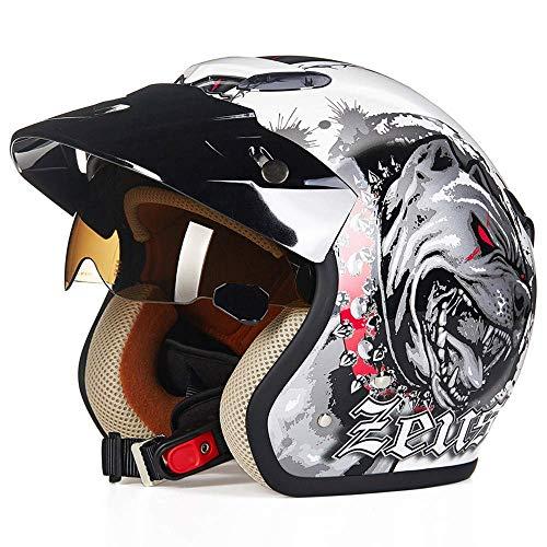 KAISIMYS Casco de Motocicleta de Cara Abierta Unisex, Cascos Ligeros Medio Casco Retro con patrón Hell Dog y Carcasa de ABS, para Moto de Verano, Aprobado por Dot