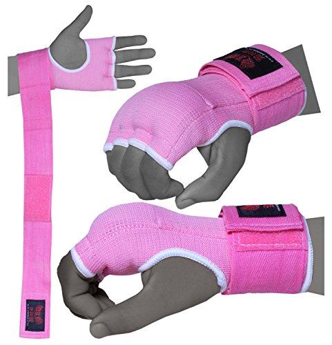 BOOM guanti rosa Gel signore Boxe interni mano avvolge MMA Sacco per il pugilato L/XL