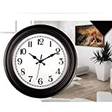 WJH Redondo Clásico Reloj Rústico Reloj de Pared 14 Pulgadas Dial Dial Cara Retro Reloj de Pared silencioso Non-Ticking Casa Redonda Decoración de la Pared Reloj de Pared,Negro