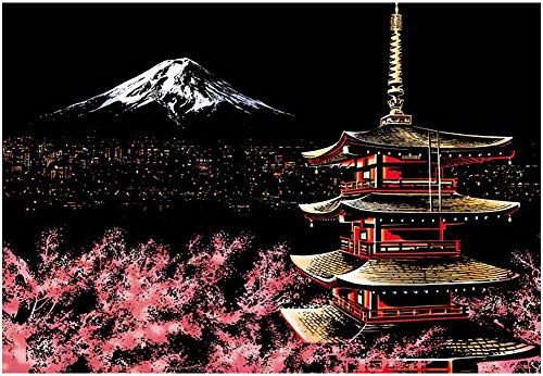 YWXKA Rayar Arte Papel Pintura del Arco Iris Bloc de Dibujo, Bricolaje Noche de la Ciudad Papel para Dibujar para Adultos y niños, con la Aguja, el Monte Fuji, Japón