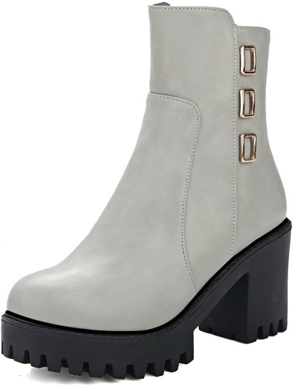 AllhqFashion Women's Low-top Chains Soft Material High Heels Round Closed Toe Boots