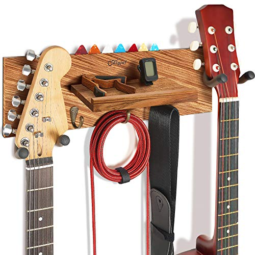 Guitar Holder Wall Mount with Double Rotatable Rubber Hook, Solid Wood Guitar Hanger with Shelf and Pick Holder, Guitar Hanging Rack for Acoustic Electric Guitar, Bass, Banjo, Guitar Accessories