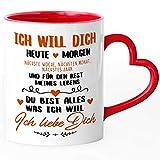 SpecialMe® Tasse mit Herz-Henkel Liebes-Spruch Ich will dich heute morgen.Liebeserklärung ich liebe dich Geschenkidee Valentinstag Freund/Freundin/Partner rot Herz-Tasse