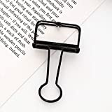 Alisy Small Binder Clips, 1pc Metal Clip Cute Binder Sewing Clips, Multipurpose Album Paper Clamps Clips Stationary for Office, Quilting, Fabric, Craft, Learning (Black)