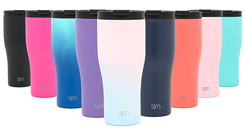 Simple Modern 20oz Classic Tumbler with Straw Lid & Flip Lid - Travel Mug Gift Vacuum Insulated Coffee Beer Pint Cup - 18/8 Stainless Steel Water Bottle Ombre: Sweet Taffy