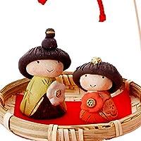 雛人形 コンパクト 陶器 小さい 可愛い ひな人形/人形師の手造り雛人形 濱田ひろこ作 春桃籠雛飾り/ミニチュア 初節句 お雛様 おひな様 雛飾り