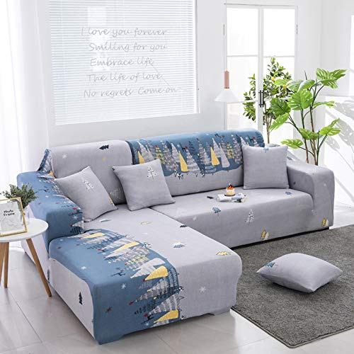European-Style Fashion L-Shaped Sofa Cover Christmas And Halloween Elastic All-Inclusive Sofa Chair Cover Anti-Wrinkle Anti-Skid Good Cleaning Sofa Towel Bedroom Study Restaurant