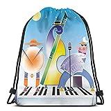 XCNGG Bolsos con cordón Bolsa de deporte para gimnasia Viaje, Banda abstracta de formas geométricas Acordeón de tambores que se ejecuta en la superficie del teclado