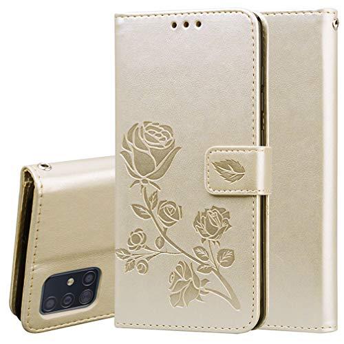 HAOYE Hülle für Samsung Galaxy A51 Hülle, Rose Geprägtem PU Leder Magnetische Filp Handyhülle mit Kartensteckplätzen/Standfunktion, [Anti-Rutsch Abriebfest] Schutzhülle. Gold