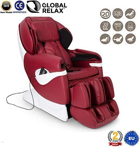 REBAJAS -160€ l SAMSARA Sillon de masaje 2D - Rojo (modelo 2019) - Sofa masajeador electrico de relax con shiatsu - Silla butaca con presoterapia, gravedad cero, calor y USB - Garantía 2 Años
