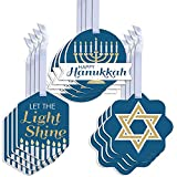 Big Dot of Happiness Happy Hanukkah - Assorted Hanging Chanukah Holiday Party Favor Tags - Gift Tag Toppers - Set of 12
