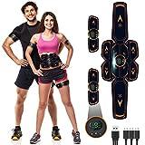 Electroestimulador Muscular Abdominales, Masajeador Eléctrico Cinturón con USB, EMS Estimulación...