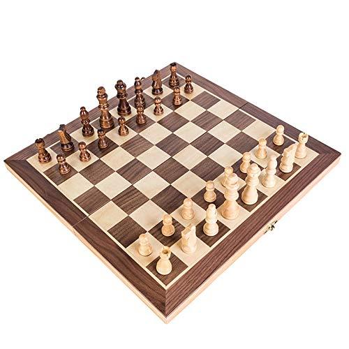 KOKOSUN チェスセット 国際チェス 木製 マグネット式 折りたたみチェスボード 収納便利 (S)
