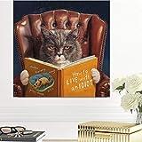 ganlanshu Pintura sin Marco Gato de Dibujos Animados está Leyendo póster Arte de la Pared en Lienzo decoración de la habitación de los niñosAY5295 70X70cm