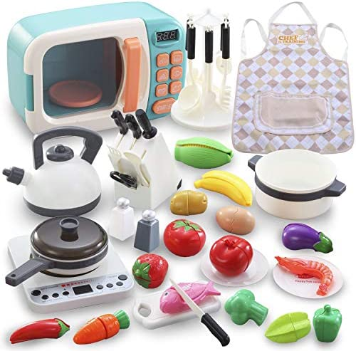 Pretend Play Kitchen Cookware 42 pcs Kids toy with Microwave Electronic Induction Cooktop Cookware product image