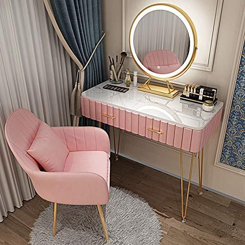 MYAOU Schminktische für Schlafzimmer Schminktisch mit LED-Lichtern Spiegel Schlafzimmermöbel Set Mädchen Schminktisch mit gepolstertem Hocker