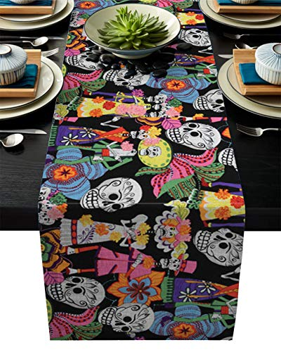 BMALL Day of The Dead Sugar Skulls Table Runner Home Decor for Kitchen Wedding Party Farmhouse 13x90inch