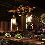 FUMIMID Retro Deckenlampe Vintage Industrielle Kronleuchter Doppelkopf Rustikal Holz Pendellampe Metall Glas Höhenverstellbar Pendelleuchte Schlafzimmer Lampe Restaurant Bar E27 Hängelampe Schwarz