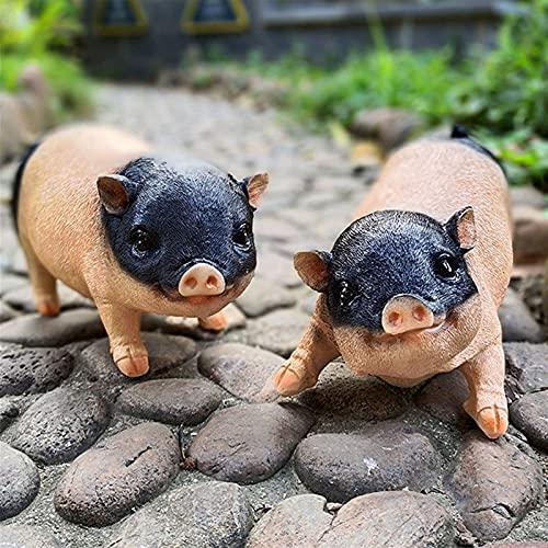 Estatua de jardín Adorno de jardín impermeable Adornos de cerdo de jardín al aire libre, Escultura de cerdo de resina creativa, Estatua de resina impermeable para patio Rocalla Patio Decoració