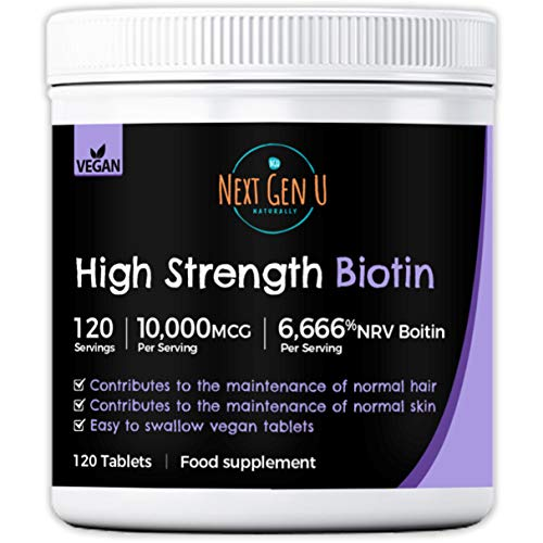Biotin Hair Growth Tablets – 120 High Strength 10,000mcg Vegan Biotin Tablets | 4 Months Supply | Supplement for Hair Growth and Maintenance of Healthy Skin and Nails | Additives Gluten Free