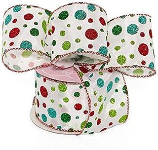 Glitter Polka Dots Wired Ribbon - 2 1/2