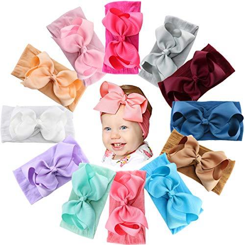 JOYOYO 12 diademas y lazos para bebé de nailon suave y ancho con lazos de cinta de 5 pulgadas, súper elásticos, diademas elásticas para bebés, niños pequeños