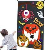 ZALA Halloween Toss Jeu pour Enfants et Adultes, Chauve-Souris araignée Citrouille Suspendu Jeu avec 3 Sacs de fèves Halloween Enfants intérieur extérieur Jeux pour Décoration de fête d'halloween