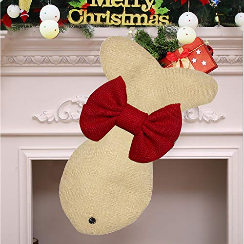 Yodofol Pet Dog Christmas Stockings Large Fish Shaped Bow Burlap Hanging Christmas Stockings for Dogs Christmas Decorations (Red - 1 Pack)