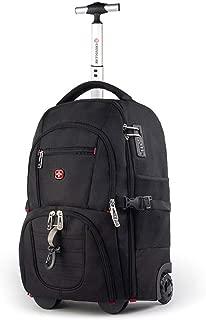 GLJJQMY Travel Bag Backpack Trolley Bag Dual-use Multi-Function Men and Women Shoulder Bag Large Capacity Short Trip Trolley Backpack (Color : Black, Size : 52x21x35cm)