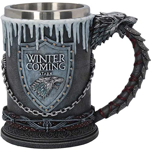 Nemesis Now House Stark Tankard Game of Thrones-Taza (20 cm), Color Negro, Resina con Inserto de Acero Inoxidable, Talla única