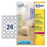 Avery L7780-25 Etichette trasparenti lucide, d.40mm, 24 Etichette per Foglio, 25 Fogli, stampanti laser