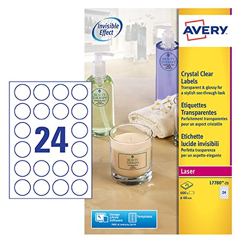 Avery Kristallklare Etiketten für Laserdrucker rund 24 pro Blatt 40 mm Durchmesser 600 Stück transparent