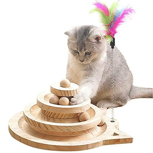 Yang Xin.Style Juguete para gatos con bola de madera de tres capas, mesa de gimnasia para gatos + divertido palo, juguete interactivo para gatos.