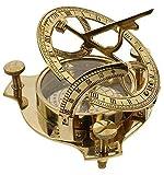 Parijat Handgefertigter Kompass für Sonnenuhr, 10,2 cm, massives Messing, Sonnenuhr, Sonnenuhr, Kompass