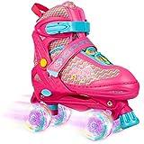 VERENO ローラースケートは 子供のための調整可能な4サイズ すべての車輪のライトアップ 女の子と若者のための初心者