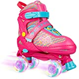 VERENO Roller Skates 4 Size Adjustable for Kids,with All Wheels Light up,Dazzling Color Fun Illuminating for Girls and Boys - Medium